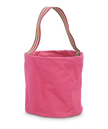 Pink Color Block Round Crunch Storage Tote