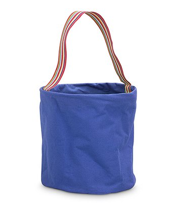 Navy Color Block Round Crunch Storage Tote