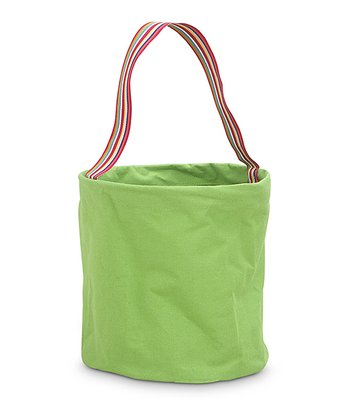 Green Color Block Round Crunch Storage Tote