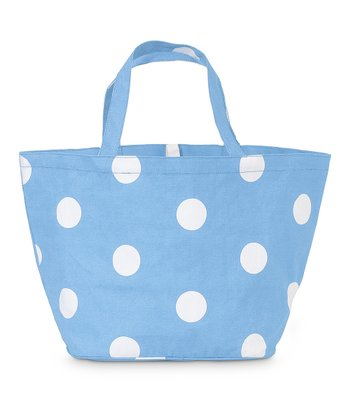 Light Blue Team Dot Catch All Tote