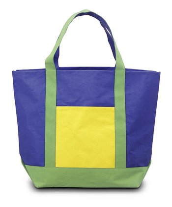 Navy, Green & Yellow Color Block Voyager Bag