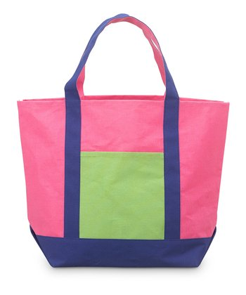 Pink, Navy & Green Color Block Voyager Bag