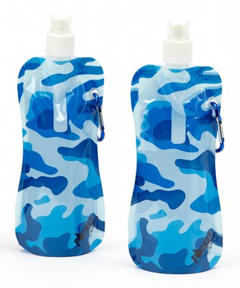 Blue Camo 16-Oz. Foldable Bottle - Set of Two