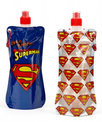 Superman 20-Oz. Foldable Bottle - Set of Two