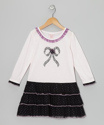 Purple Bow Tiered Dress - Toddler & Girls
