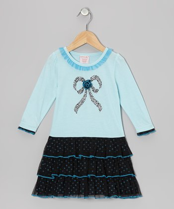 Blue Bow Tiered Dress - Toddler & Girls