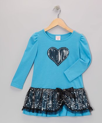 Blue Sequin Heart Dress - Toddler & Girls
