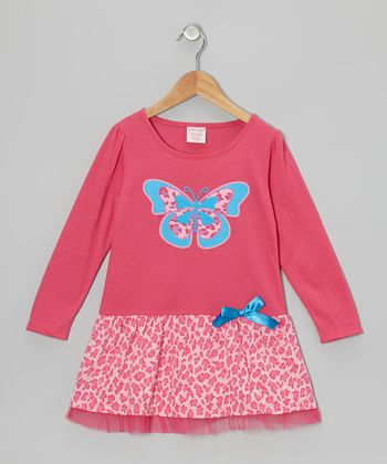Pink Cheetah Butterfly Dress - Toddler & Girls