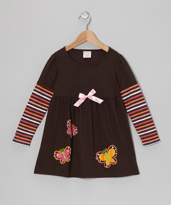 Brown Butterfly Layered Dress - Toddler & Girls