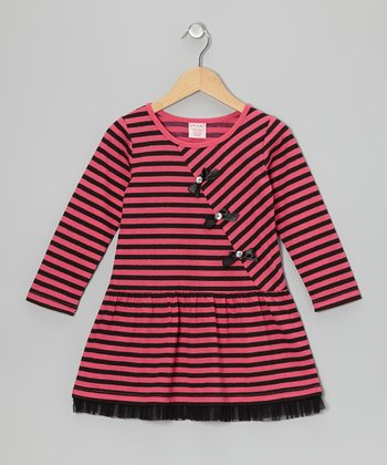Red Stripe Bow Dress - Girls