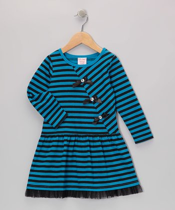 Blue Stripe Bow Dress - Girls