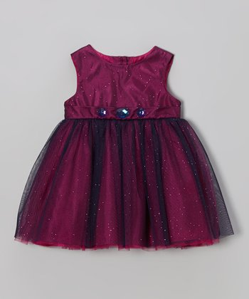 Purple Gem Sparkle Babydoll Dress - Infant