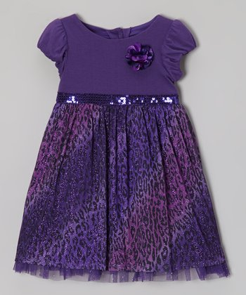 Purple Leopard Flower Dress - Toddler & Girls