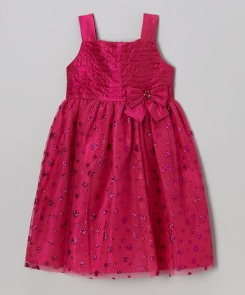 Pink Polka Dot Sparkle Bow Dress - Toddler & Girls