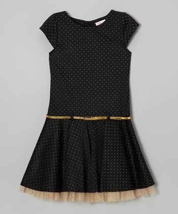 Black & Gold Polka Dot Belted Dress - Girls