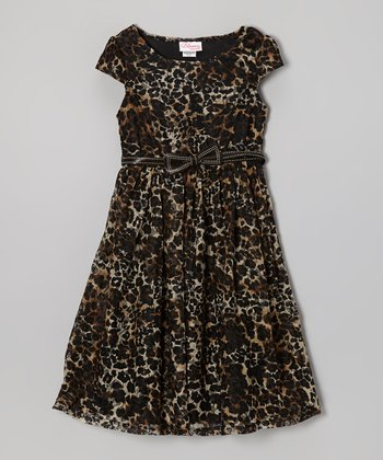 Leopard Bow Belted Dress - Girls