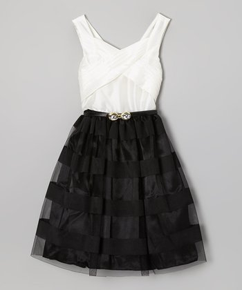 Black & White Bow Belted Dress - Girls
