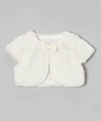 Ivory Faux Fur Shrug - Infant