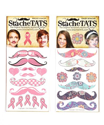 Neon Nose Tickler Mustache Tattoo Set