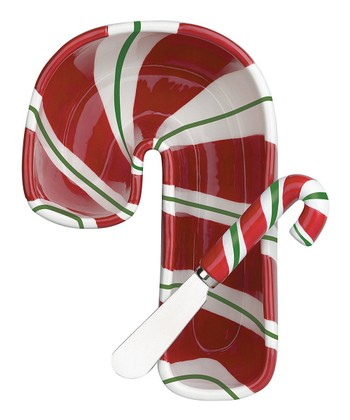 Candy Cane Dip Bowl & Spreader Set