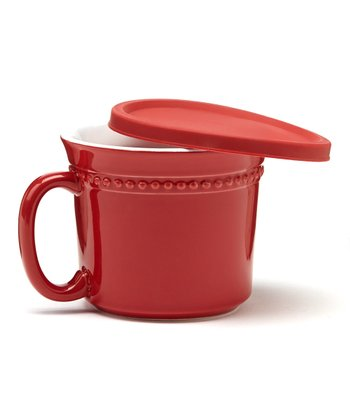 Red Covered Soup Crock - Set of Four