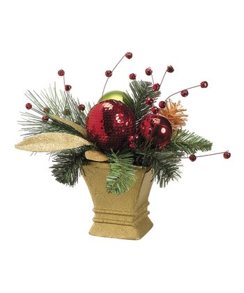 Pinecone & Jingle Bell Paper Mache Pot