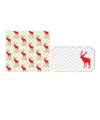 Reindeer Personalized Wrapping Paper & Sticker Set