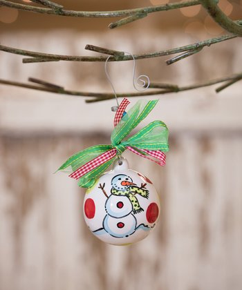 Red & Green Snowman Personalized Ornament