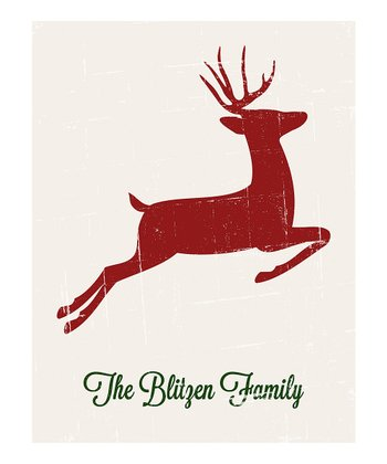 Tan Retro Reindeer Personalized Print