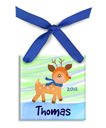 Blue Rudolph Personalized Ornament