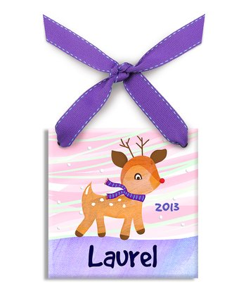 Purple Rudolph Personalized Ornament