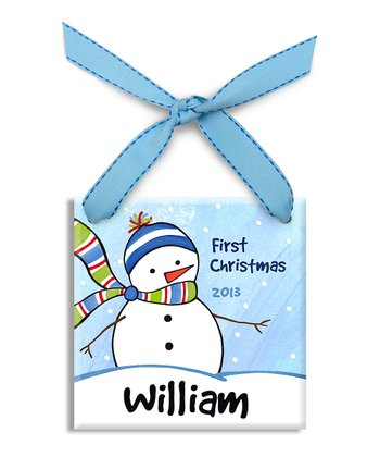 Blue Frosty Friend Personalized Ornament