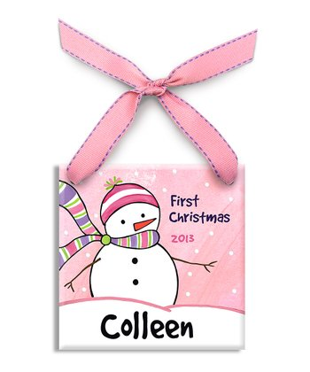 Pink Frosty Friend Personalized Ornament