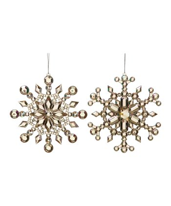 Crystal Snowflake Ornament Set