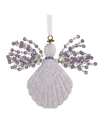 Purple Seashell Angel Ornament