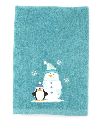Teal Winter Bliss Hand Towel