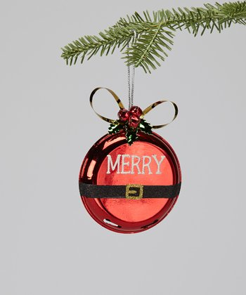 'Merry' Santa Belt Ornament