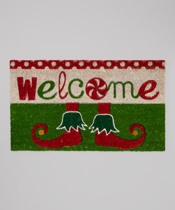 Green 'Welcome' Holiday Rug