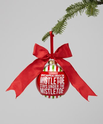 'What Happens Under the Mistletoe' Glass Ornament