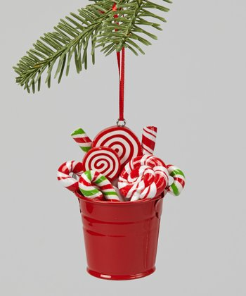 Red Swirl Candy Bucket Ornament