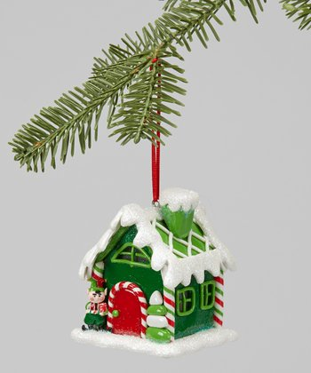 Dark Green LED Gingerbread House Ornament