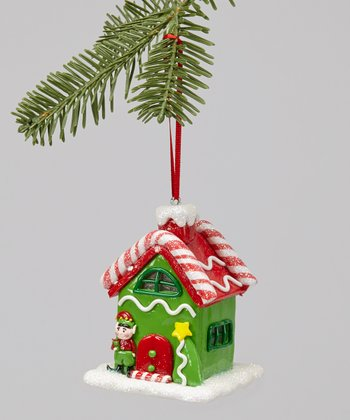 Mint Green LED Gingerbread House Ornament