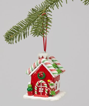 Red LED Gingerbread House Ornament