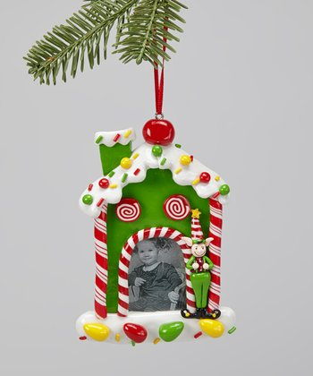 Green Gingerbread House Frame Ornament