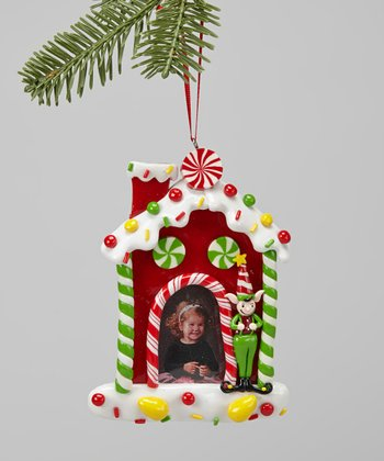 Red Gingerbread House Frame Ornament
