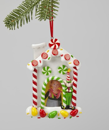 White Gingerbread House Frame Ornament