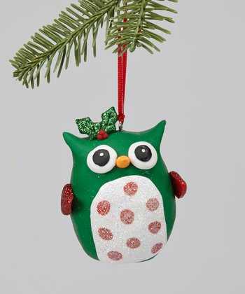 Green Polka Dot Owl Ornament