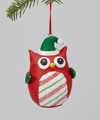 Red Stripe Owl Ornament