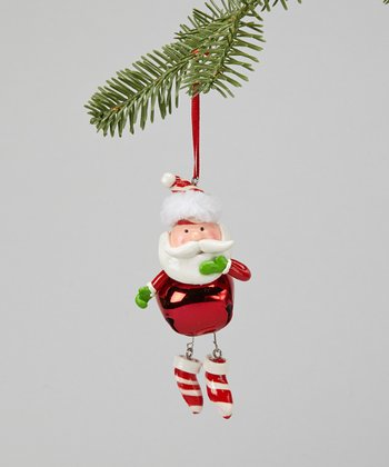 Stripe Boots Santa Ornament