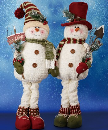 Plush Snowman Figurine Set